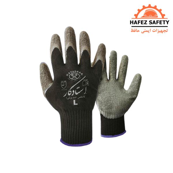دستکش ضد برش طوسی مشکی استاد کار